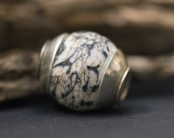 Lampwork Glass Beads, Big Hole Bead, Fits Biagi, Fits Chamilia, Lampwork Focal Bead, European Charms, Euro Charm Beads, Slider Bead, Ivory