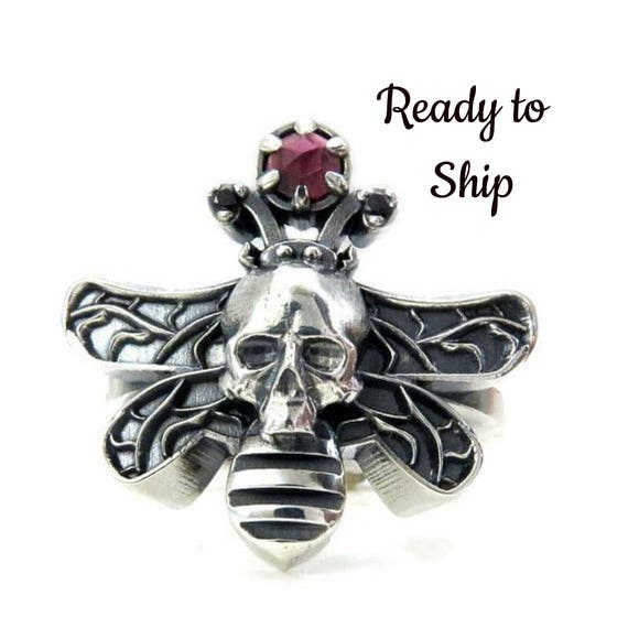 Ready to Ship Size 6 - 8 Moth Man Ring - Sterling Silver with Red Rose Cut Garnet Orb - Dead Head Moth Ring