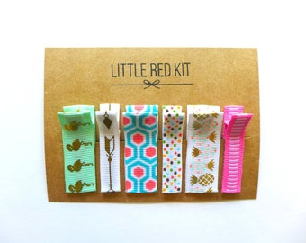No slip hair clips. Hair accessories for girls. Accessories for girls. Hair clips for girls. Baby hair clips. PINK BLUE MINT set of 6.