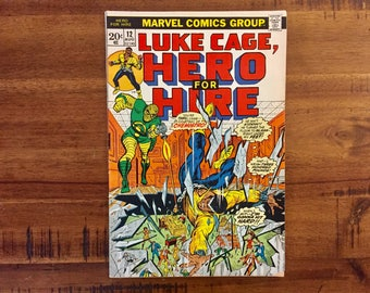 1973 Luke Cage, Hero For Hire #12 Comic Book / FN-VG Condition / 1st Chemistro / Iron Fist / Spiderman / Marvel Comics