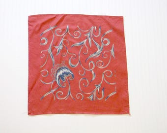 Vintage 40's Men's Silk Twill Red Pocket Square Handkerchief