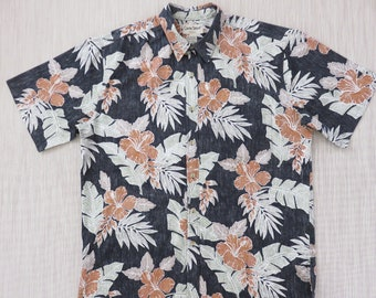 Hawaiian Shirt Men COOKE STREET Copyrighted Hibiscus Floral Reverse Print Black Aloha Shirt 100% Cotton Camp - XL - Oahu Lew's Shirt Shack