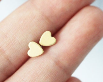 Tiny gold heart earrings - heart stud earrings - sterling 925 silver post - minimal earrings