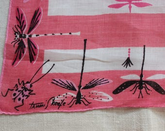 Handkerchief Tammis Keefe Designer Dragonfly hand rolled edges VINTAGE by Plantdreaming