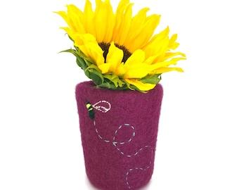 Vase de feutre crayon feutre Pot Magenta rose maison Decor cylindre tricoté pendaison de crémaillère d'hôtesse cadeau incassable doux enfants crèche
