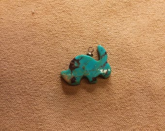 20% OFF Blue Bisbee Turquoise Rabbit Cabochon with sterling eyehook/ backed/ seconds