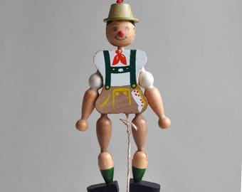 Wood Lederhosen Alpine Hiker - Pull String Toy / Ornament - Made in Austria