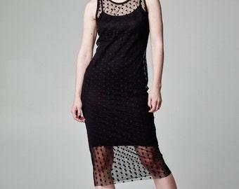 Black Tulle Dress, See Through Dress, Polka Dot Dress, Sheer Dress, Black Mesh Dress, Dotted Dress, Black Midi Dress, Sheer Black Dress