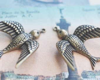 TWO Brass Sparrow Charms with tipped wings,  Brass Ox, Brass Stampings made in the USA, Pendants, jewelry making and crafting