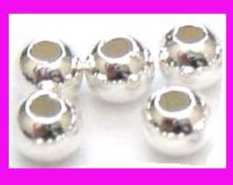 50x  4mm Sterling Silver Beads seamless round Spacer S44