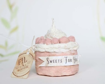 Valentines day miniature cake Spun cotton Christmas ornament