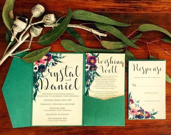 Turquoise and purple floral wedding invitation pack with pocketfold & tag and twine