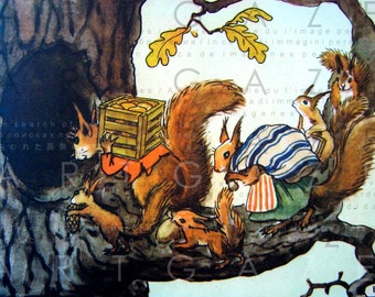 Squirrels's New Home. Vintage Squirrel Illustration. Elsa Beskow Woodland Art. Squirrel Antique Print. Squirrel Digital Download.