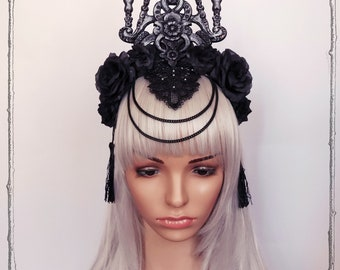 "Headdress ""Cathedral"" ( Roses, Goth , Fantasy, Headpiece )"