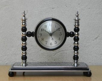 Very Heavy Art Deco Chrome Electric Mantel Clock