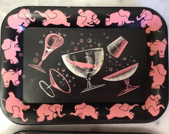 """Set of 6 Pink Elephant Mini Trays """"Why fit in when you were born to stand out"""" Got it at The Plastic Flamingo Mid Century Barware Party Time"""