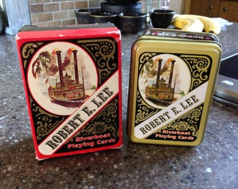 Vintage Playing Cards, Robert E. Lee Riverboat Playing Cards, 1980, Card Tin, 2 Decks