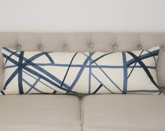 Channels Periwinkle/Oat lumbar designer pillow covers - Made to Order - Kelly Wearstler