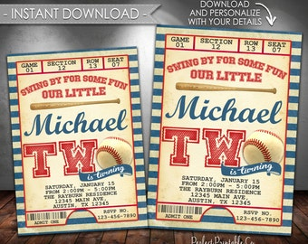 Vintage Baseball Invitation, Baseball Birthday Party Invitation, Baseball Invite, 2nd Birthday, Two, Instant Download, Editable PDF #599