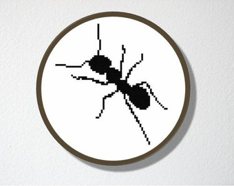Counted Cross stitch Pattern PDF. Instant download. Ant Silhouette. Includes easy beginners instructions.