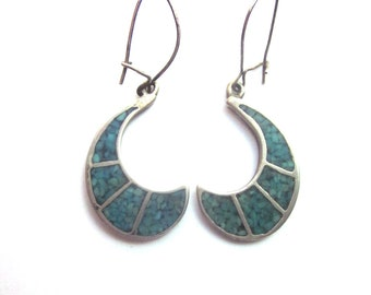 Crushed Turquoise Dangle Earrings Southwest Jewelry