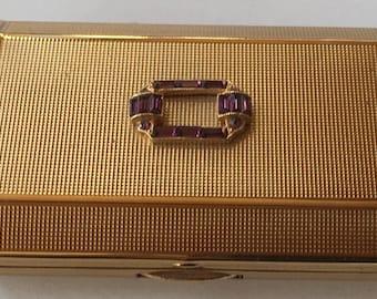 SALE! Vintage Melissa Art Deco Gold Tone Purple Amethyst Rhinestone Compact
