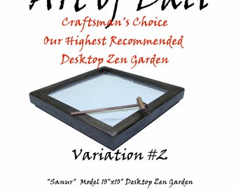 "Art of Bali Zen Garden - Sansur Model - Oak with Ebony Stain - 10"" x 10"" Zen Garden"