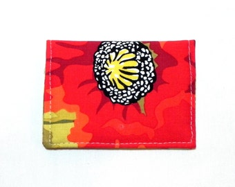 Business Card Holder - Poppies in red, yellow, black and green.