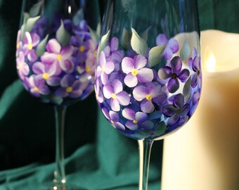 Hand Painted Wine Glasses - Violets on Cobalt Blue glass (Set of 2)