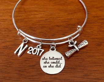 Graduation gift for her 2018, personalised graduation jewellery, she believed she could, 2017 graduate bracelet, student high school college