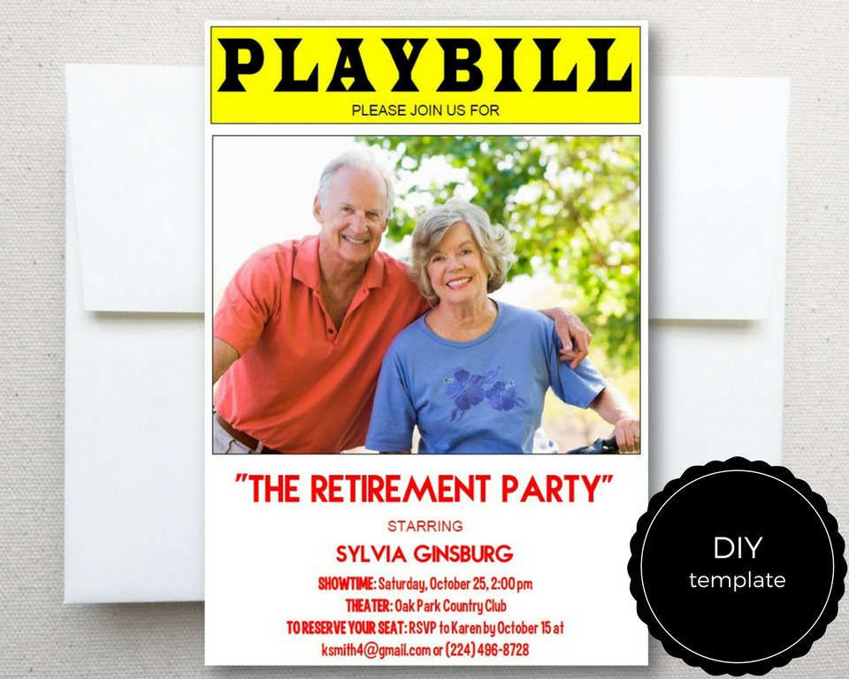 Retirement Party Invitation PLAYBILL Broadway DIY TEMPLATE 5