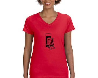 Vintage Camera Shirt for Women, Ladies Cotton V Neck Tshirt, Missy Fit, Misses Fit, Shirts For Women Red Tshirt Old Camera Graphic Tee Shirt