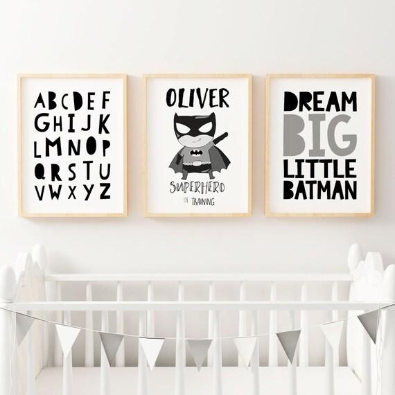 Niños superhéroes vivero monocromo dormitorio grabados