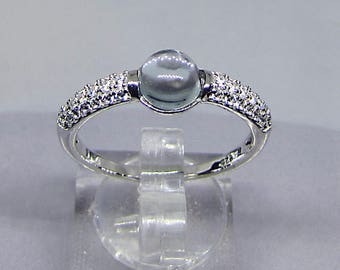 Ring Silver 925 (CABOCHON) Blue Topaz size 50