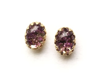 Ohrstecker,Earring Studs,ear studs,real dried flower,lila,lilac,Gold Edge Post,Bridesmaids Gift