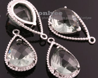 2pcs-20mmX13mRhodium Faceted NEW Style Tear Drop With Glass pendants-Grey(Charcoal)(M333S-F)