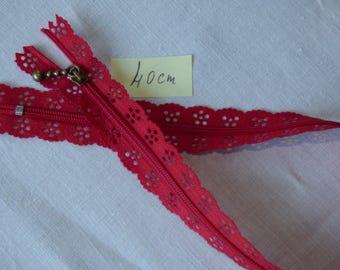 Zipper lace 40 cm Red