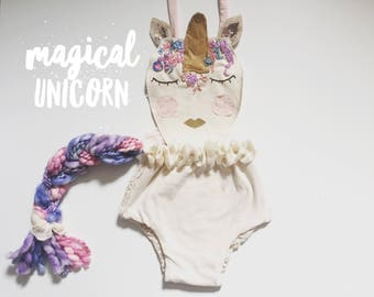 Magical Unicorn first birthday outfit.  Unicorn baby costume. Photography prop romper. Magical whimsical unicorn  outfit cora and violet