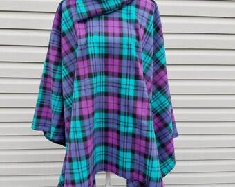Purple, teal & black plaid fleece poncho