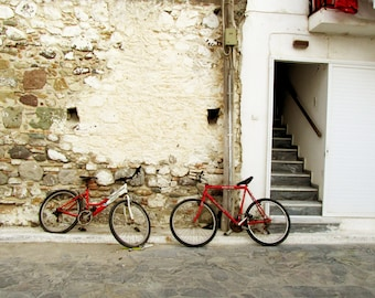 2 Red bicycles
