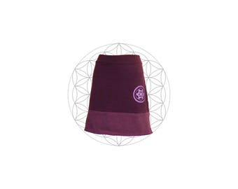 Organic Skirt - Organic cotton and hemp blend two tone skirt with sacred geometry print - seed of life Handmade and Dyed to order
