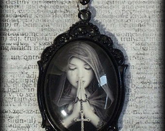 Large Glass Cameo Cabochon Pendant Necklace - Gothic Prayer - Statement Necklace