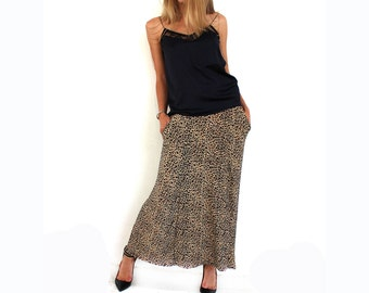 Women Maxi Leopard Animal Print Skirt Stretch Bodycon with pocket
