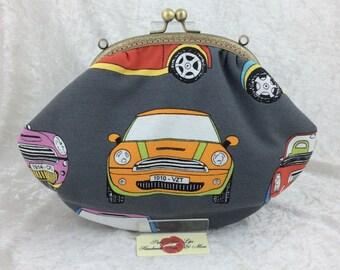 Handmade handbag purse clutch kiss clasp Grace frame bag BMW Mini Cars
