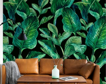 GREEN LEAVES pattern temporary wallpaper, Green leaves wallpaper, Large leaves wall mural