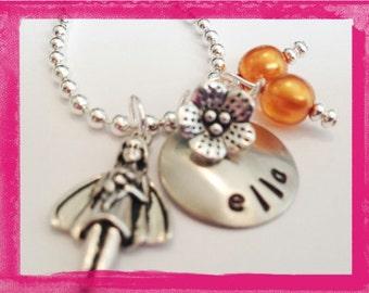 Flower Girl Necklace - TIMELESS FLOWER Girl Necklace - Personalized Wedding Jewelry #W819