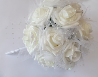 Wedding Bouquet in White Glitter Roses with White Netting