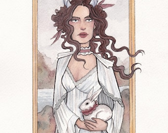 Winters Maiden, watercolor illustration, Original or Print available!
