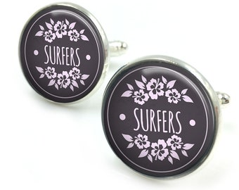 Surfing Cufflinks, Surfer, Surfboard Cufflinks, Beach Cufflinks, surfing, beach, ocean, Gifts for Men,gift for men,gift for him 5