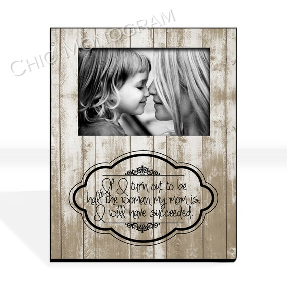Mother's Day Gift From Daughter Gift for Mom Custom Family Portrait  Photo Frame Custom Quote Photo Gift for Mother Picture Frame Rustic